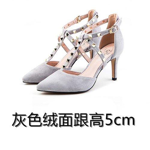 Vivioo Sandali Donna Sandali Con Tacco Alto Tacco Alto Shoessummer Tacco Alto Sandali Con Rivetti Pizzo Femminile Piccolo Cortile Grande Iarda Grigia A5cm