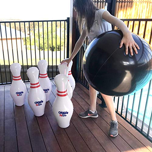 GIGGLE N GO Inflatable Bowling Pins - Giant Outdoor Games for Kids and Family. Great for Indoor or Outdoor Games. Our Kids Bowling Set Inc 6, 27in Bowling Pins, 1, 24in Ball and 1 Pump