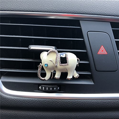 FOLCONROAD Auto Diamond Elephant Car Air Conditioning Outlet Clip Decorative (White)[US Warehouse] (Elephant For Decorations Home)