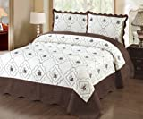 #3: Fancy Linen 3pc Bedspread Quilted Bed Cover Queen/king