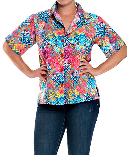 LA LEELA Likre Camp Casual Aloha Beach Collar Shirt Multi 436|S - US 34 - 36D