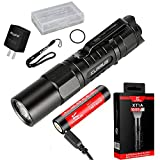 Klarus XT1A 1000 lumens CREE XP-L HD V6 LED AA Battery Dual-Switch EDC Tactical Flashlight Compact Handheld Torch with USB Rechargeable 14500 Battery,Charging Cable, Battery Case and Adapter