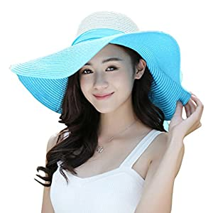 Women's Summer Wide Brim Beach Hats Sexy Chapeau Large Floppy Sun Caps