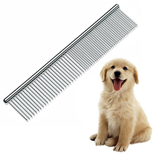 "7"" Dog Comb Pet Grooming Brush for Cats Puppy Greyhound with Medium/Coarse Fur Easy Grip Dematting Combs with Different-spaced Rounded Stainless Steel Teeth - Silver"