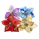 M2cbridge Pack of 6 Glitter Artificial Wedding Christmas Flowers Red Glitter Poinsettia Christmas Tree Ornaments Dia 9 Inch (Golden)