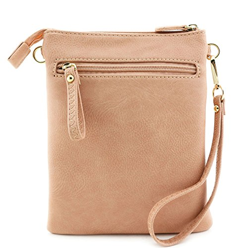 Rose Crossbody Wristlet Bag with Zipper Pocket Multi Pink Emblem nCzw0Fqqtx