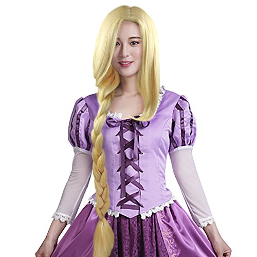 Princess Tangled Rapunzel Wig Long Braids Wig Adult Gold -