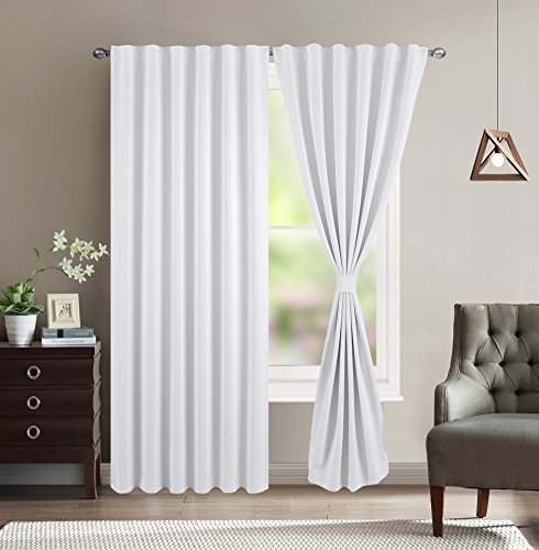 Black And White Window Treatments (BHU Blackout Room Darkening and Thermal Insulating Window Curtains / Panels / Drapes - 2 Panels Set - 7 Back Loops per Panel - 2 Tie Back Included (White, 52x84))