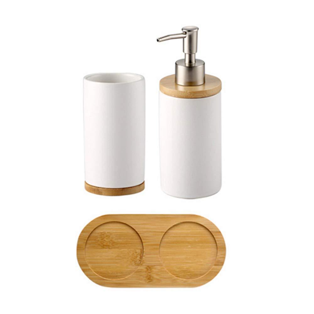 Set da Bagno in Ceramica Bocca Tazza spazzolino lozione Bottiglia per dentifricio Bamboo Storage Board A Wankd spazzolino Tumbler Holder