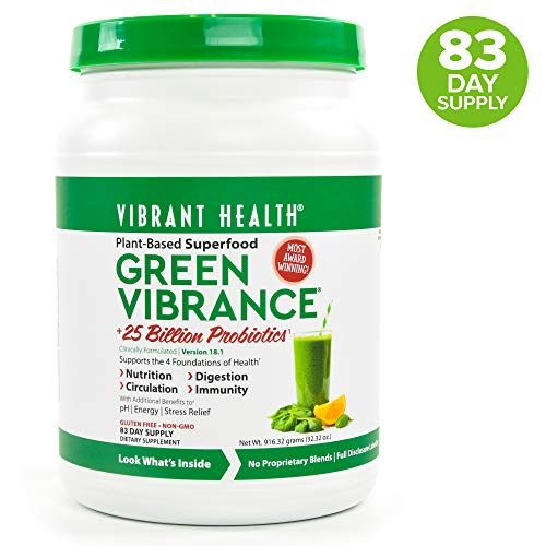 Vibrant Health, Green Vibrance, Plant-Based Superfood Powder, 25 Billion Probiotics Per Scoop, Vegetarian and Gluten Free, 83 Servings (FFP) (Best Multivitamin For Women In Their 20's)