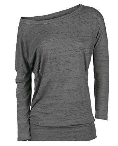 232546c6fa9 Abetteric Women s Plus Size Skinny Long-Sleeve Cut Out Shoulder Casual  Weekend Tees Blouse T Shirt Top Grey M - Buy Online in Oman.