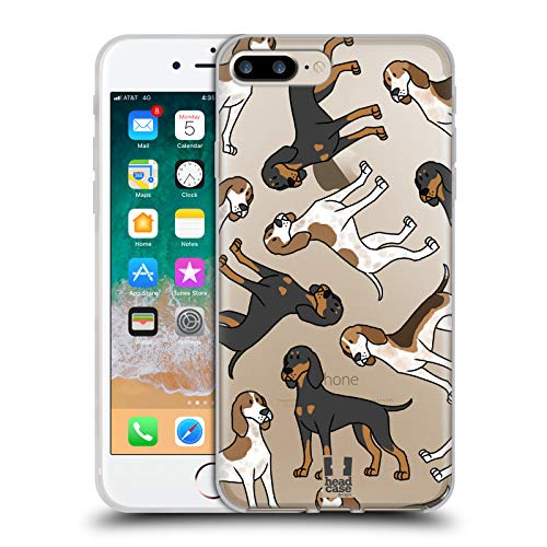 Head Case Designs American English Coonhound Dog Breed Patterns 17 Soft Gel Case for iPhone 7 Plus/iPhone 8 Plus - Breed Dog Coonhound