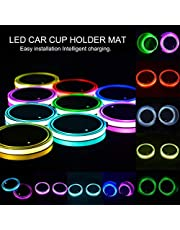 Car Cup Holder Led Lights Seven Colors Changing Usb Charging Mat Cup Pad Coaster Insert LED Interior Atmosphere Lamps
