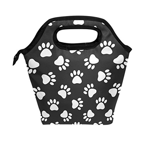 WOZO Cat Dog Paw Print Footprint Insulated Lunch Bag Tote Bag Cooler Lunchbox Handbag for Outdoors School Girl Boy