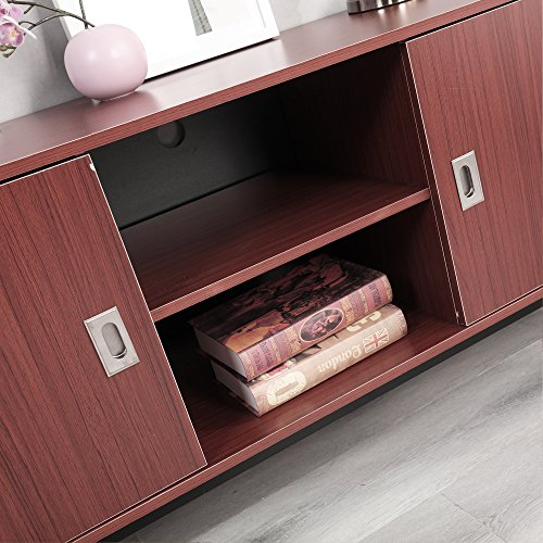 Dland TV Stand 59'', Composite Wood Board, 2-Shelf & 2-Cube & 2-Door Entertainment Center Console Storage Cabinet for Living Room Bedroom, WK-GZ003-RM Red-Maple, 1 Pack by Dland (Image #5)