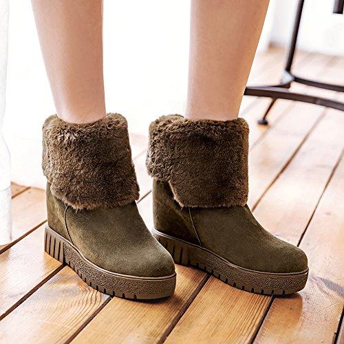 Boots Fur Snow Wedge Heels Women Ankle Green Platform Meotina Boots Winter Hidden Female PwnvxBqfq