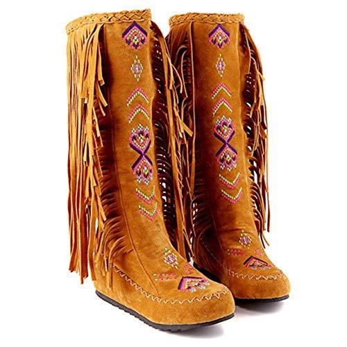 - Women's Fashion Ethnic Bohemian Flock Tassle Hidden Moccasin Knee High Boots Fringe Slip On Shoes 4 Colors