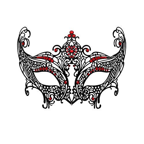 [WINK KANGAROO Women's Laser Cut Metal Venetian Pretty Masquerade Masks (Fox Style, Black/Red)] (Red Masquerade Mask)