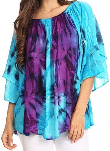 Sakkas 17035 - Alania Watercolor Tie Dye Double Bell Sleeve Raglan Blouse - Turq/Purple - OS