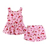 ALLAIBB Little Baby Girls Outfit Strawberry Floral Printed Blackless Vest + Shorts Size 110 (Strawberry)