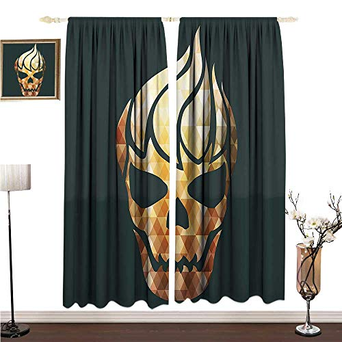 Anshesix Thermal Insulating Blackout Curtain Modern Gothic Skull with Fractal Effects in Fire Evil Halloween Concept W108 xL72 Printing -