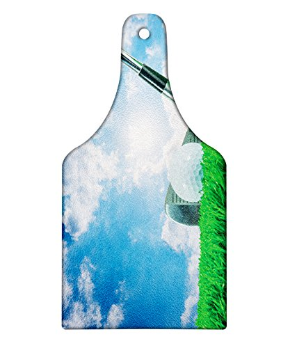 Lunarable Sports Cutting Board, Golf Ball and Iron Club on Grass and Cloudy Sky Sunny Summer Day Practicing, Decorative Tempered Glass Cutting and Serving Board, Wine Bottle Shape, Green Blue ()