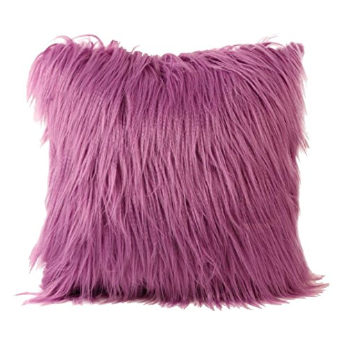 Fashion Plush Furry Cushion Cover Throw Pillow Case Home Bed Room Sofa Decor (Purple) (Shop Throw Pillows)