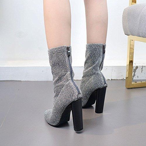 femenina los botas zapatos la botas moda de black punta alto la En con ZHZNVX doble de camisa gruesas la tacón xqpwACgAnR