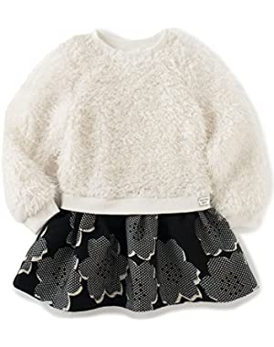 Baby Girls' Curly Knit Body With Jacquard Skirt