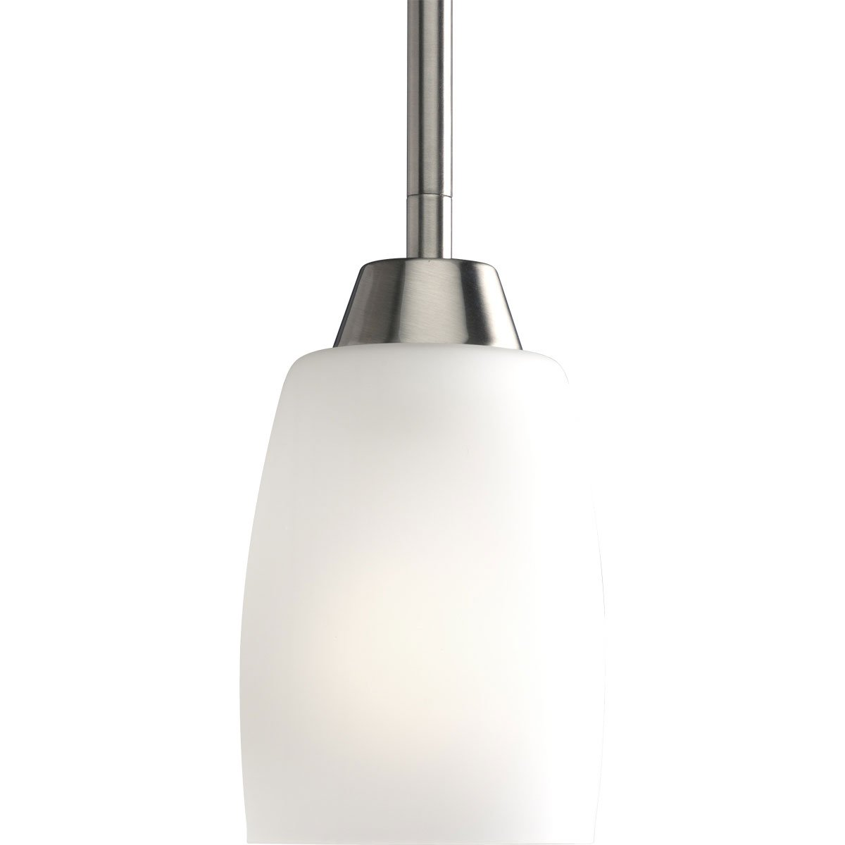 Progress Lighting P5108-09EBWB 1-Light Compact Fluorescent Mini-Pendant with Elegant Arm and Clear Etched Glass Using A GU24 Lamp, Brushed Nickel