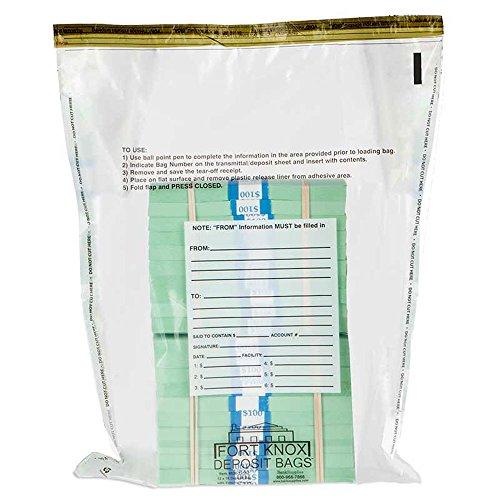 12W x16H Clear Deposit Bag w/External Pocket – 500/case