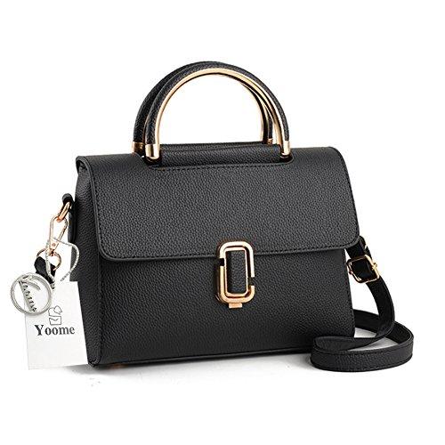 Yoome Mini Handtaschen für Mädchen Lichee Pattern Handtaschen Elegante Taschen für Charm Clutch mit Strap - Schwarz
