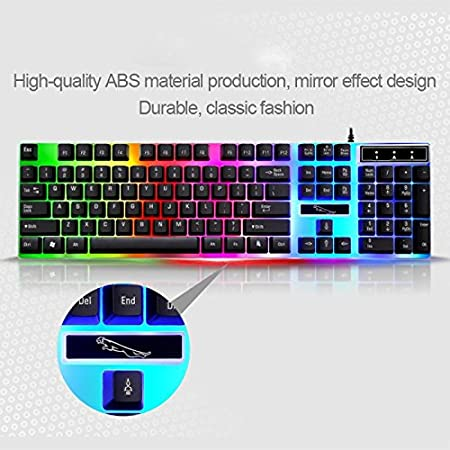 GzPuluz Wired Gaming Keyboard ZGB G21 1600 DPI Professional Wired Colorful Backlight Mechanical Feel Suspension Keyboard Optical Mouse Kit for Laptop PC Color : White Black