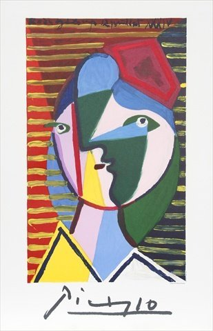Pablo Picasso 7914 Visage de Femme sur Fond Raye, Lithograph on Paper 29 In. x 22 In. - Green, Blue, Red