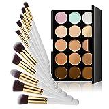 Jocestyle 1 Pcs 15 Colors Contour Face Cream Concealer Palette + 10 Pcs Makeup Brushes Set Cosmetic Tools Kit (01 With White + Gold Brushes)