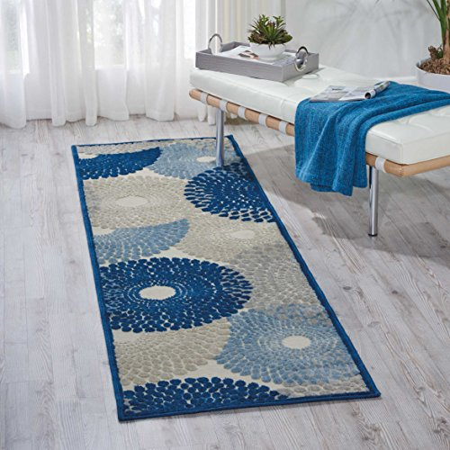 8' Runner Signature Runner (Nourison GIL04 Graphic Illusions Rug, Ivory Blue, 2'3