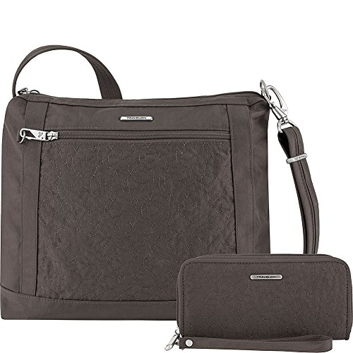 Travelon Anti-Theft Square Crossbody and Wallet Set - Medium RFID Lined Handbag for Travel & Everyday - (Smoke/Teal Interior)