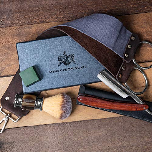 Mens Grooming kit Mindset Peace- The Best Gift for the men in your life. A Straight blade razor kits giving the Quality shave at home. Incl; A Barber Razor, Shaving Brush and a Sharpening Belt