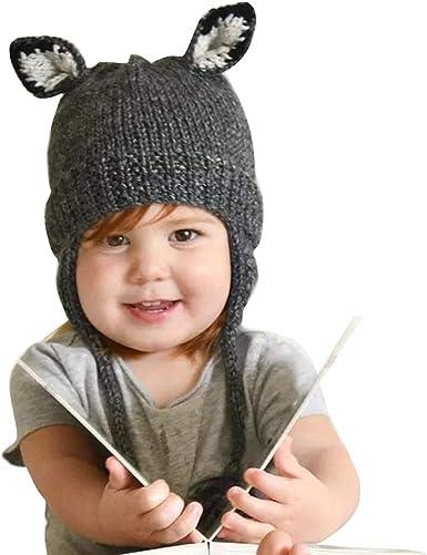 Quge Knit Crochet Bebé Niñas Niños Zorro Sombrero Gorro Recién ...