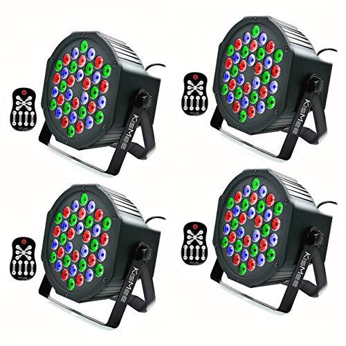 Stage Lights KisMee 36 LEDs RGB Sound Activated DJ Par Lights with Remote Control Compatible with DMX, Various Modes LED Up Lights for Wedding Event Party Festival (36LEDs Par Lights 4 Sets) (Lights For Dj Equipment)