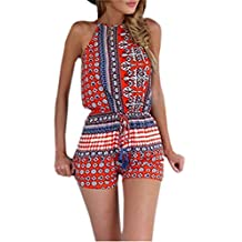 Ninimour Women's Halter Cut Out Back Bohemian Casual Romper Playsuit