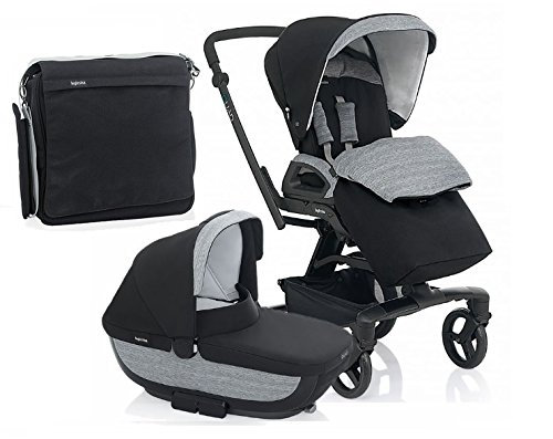 Inglesina Quad Stroller With Bassinett and Diaper Bag (Vulcano(Black)) by Inglesina