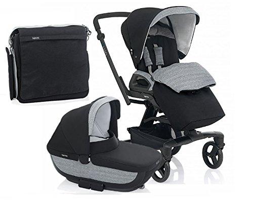 Inglesina Quad Stroller With Bassinett and Diaper Bag (Vulcano(Black)) by Inglesina