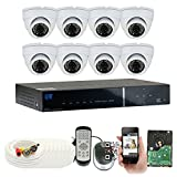 8 Channel 960H Security Camera System with 8 x 900TVL Weatherproof CCTV Surveillance Dome Cameras