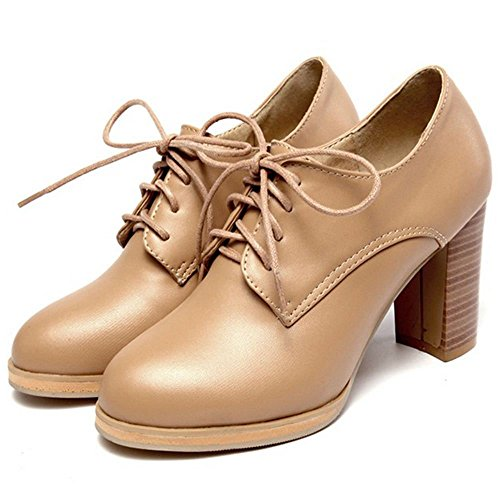COOLCEPT Women Casual Block High Heel Court Shoes Bootie Pumps Ivory tn5bpGtaVw