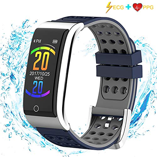 iSwim Fitness Tracker, ECG&PPG Heart Rate Monitor Watch Color Screen, IP68 Waterproof, Step Counter, Calorie Counter, Sleep Monitor, Pedometer, Smart Watch Kids Women Men (Blue)