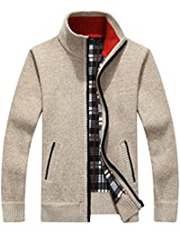 Men s Casual Slim Full Zip Thick Knitted Cardigan Sweaters with Pockets 457ca8f6c