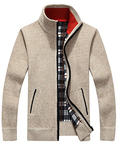 Yeokou Men's Slim Fit Zip Up Casual Knitted Cardigan Sweaters With Pockets (Medium, Khaki)