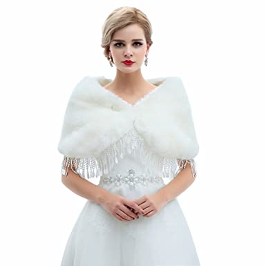 Winter Wedding Dress.Flowerry Faux Women Fur Shawl Wrap Winter Bridal Wedding Dress Wrap