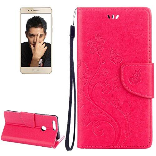 Mobile Phone Cases&decorate Huawei Honor 8 flores en relieve horizontal Flip caja de cuero con el titular y ranuras para tarjetas y billetera y cordón ( Color : Purple ) Magenta